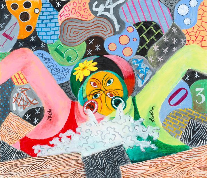 Clash, 2015 acrylic on canvas 17 7/8 x 20 7/8 inch...