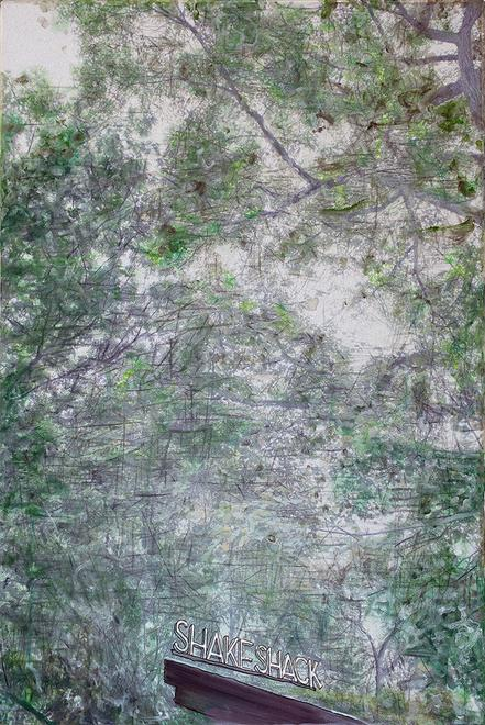shake shack in the summer, 2015 Oil, pigment ink a...