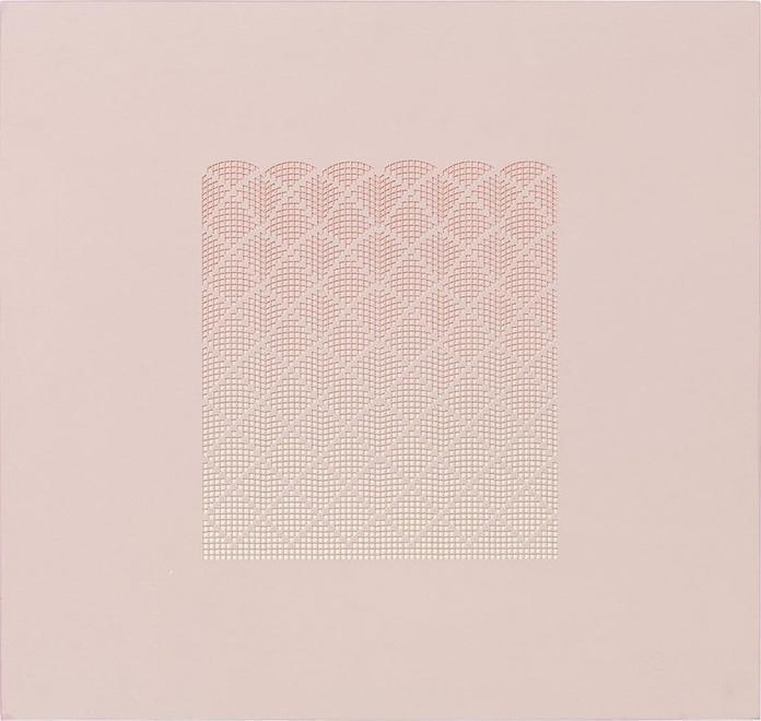 Pink Pillars, 2007 Paper on panel 14 x 14 3/4 inch...
