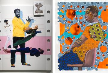 Works by Conrad Egyir (left) and Patrick Quarm (ri...