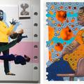 Works by Conrad Egyir (left) and Patrick Quarm (ri...